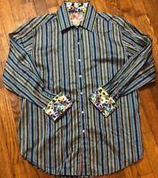 Robert Graham Mens Striped Blue Sport Shirt Flip Cuff Long Sleeve Classic Fit M