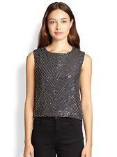 NWT Karina Grimaldi $301 Gunmetal Gray Miriam Beaded Silk Sleeveless Top, sz XS