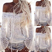 Fashion Women Off Shoulder Tops Long Sleeve Lace Loose Hollow Blouse T-Shirt