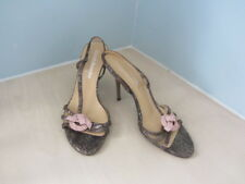 RUSSELL & BROMLEY BRONZE SNAKE SKIN LEATHER WITH PINK SWAVORSKI DETAIL SANDALS S