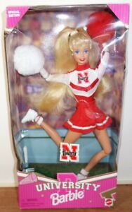 Nebraska Huskers University Barbie Cheerleader Doll by Mattel Damaged Box 1996