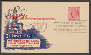 US Sc UX38 FDC. 1951 2c Franklin Postal Card, scarce Fluegel cachet, VF