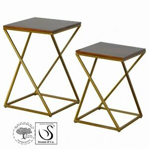 Set of 2 Chestnut Nesting Tables with Gold Iron Base