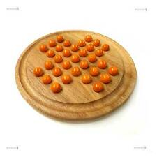 Orange Glass Marbles Natural Wood Solitaire Game Traditional