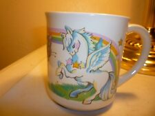 vintage 1982 fantasy winged horse and butterfly coffee cup by wallace berrrie