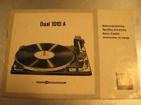 Gebrauchsanleitung Dual Plattenspieler 1010 A Bedienungsanleitung auf 21 Seiten