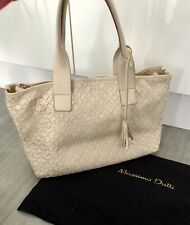 Massimo dutti Cream Leather Tote Bag Excellent Con