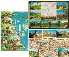 3 AK map card Italien: Pässe + Straße Dolomiti, Küste um Rimini