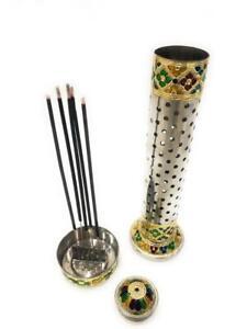 Metal Incense Stick Holder with Ash Tray.  5 Sticks at Once. + Incense Sticks