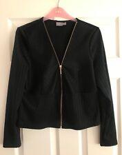 Asos black shiny peplum jacket size 14-16 ❤️ Gold zip