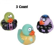 3 Count Zombie Style Rubber Ducks New 2 Inches Tall Toy Prank Gag