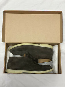 Loro Piana Men Open Walk Brown Suede Leather Loafer Boot Shoes Size 43 UK 9