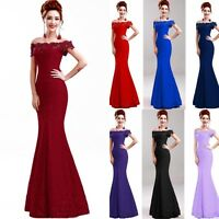 Long Lace Prom Bridesmaid Cocktail Evening Formal Party Wedding Gown Dress New
