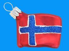 FLAG NORWAY NORWEIGAN INTERNATIONAL EUROPEAN BLOWN GLASS CHRISTMAS TREE ORNAMENT