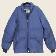 Schott NYC Down Jacket Vintage 70s Blue Puffer Size Extra Small Made In USA