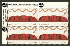 Australia World Heritage Uluru 45¢ Stamp Corner Block of 4 Polska 93 Overprint