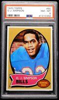 1970 OJ Simpson Rookie PSA 8 NM-MT Topps #90 Well Centered Near Mint 'Hot Card'