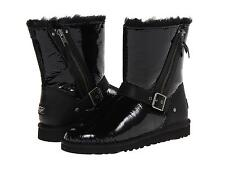 UGG AUSTRALIA BLAISE PATENT BLACK BOOTS SZ 6 YOUTH fits WOMENS SIZE 8 NEW