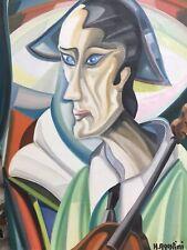 Belle Peinture Hst Huile Sur Toile Hubert Agostini Portrait Homme Cubiste
