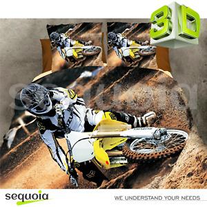 3D Bedding Set Duvet Quilt Cover Motocross Single Double 100% Cotton + Gift Box