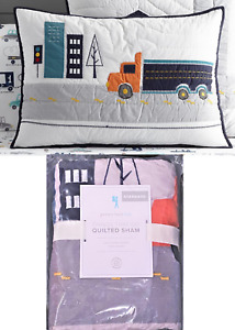 Pottery Barn Kids QUILTED PILLOW SHAM Standard Cover Things That Go Truck City +