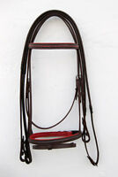 DESIGNER LEATHER NEW DIAMANTE HORSE BRIDLE BROWN/RED COLOR IN FULL,COB,PONY SIZE