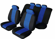 SPORTY Universal MITSUBISHI MIRAGE Fabric Car Seat Covers BLACK & BLUE