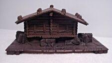 wood & plastic rustic log cabin House Trinket Box storage hinged top display toy