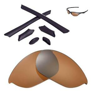 New WL Polarized Brown Lenses And Black Rubber Kit For Oakley Half Jacket