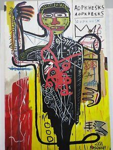 JEAN-MICHEL BASQUIAT, HANDMADE OIL PAINTING ON CANVAS,SIGNED,(Frameless) 40x60cm