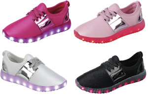 Girl's Light Up LED Shoes For Baby Toddler And Youth Kids Athletic Sneakers