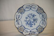 Cabinet Plate Gold Blue White Cut Work Vintage Indian Tree Floral Scalloped Rim