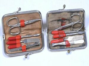 Lot (2) Vintage BEAUTY MATE Red Leather Miniature 5pc Manicure Kit, West Germany