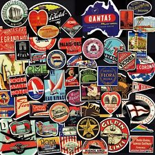 Travel Hotel Stickers 50+ Vintage Designs! Retro Luggage Wall Laptop Vinyl
