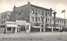 King City CA Hotel El Camino Real Candy Store Old Car Postcard