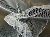 WHITE - HEXAGONAL MESH - FABRIC MATERIAL CLOTH - NYLON - 150CM WIDE