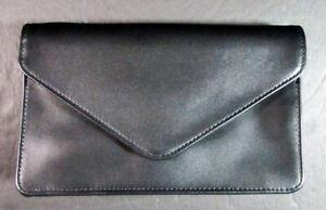Needlecraft Supplies  Black Leather Clutch w/Display Window/Removable Strap-IT46