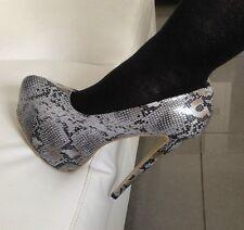 Zapatos Taco Alto Talla 11 para hombres Gris Efecto Piel De Serpiente