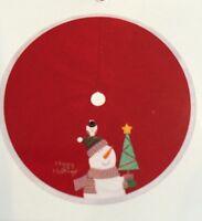 """NEW December Home 48"""" Snowman & Christmas Tree Skirt  Red White"""
