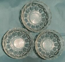 """Federal Glass - YORKTOWN-clear - 5-1/2"""" Bowl - set/s of 3- Colonial Thumbprint"""