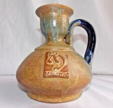 Montserrat Ceramic Jug Earthenware Cobalt Blue Tan Brown Vessel Pitcher Vase