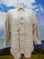 Gr.M Trachtenhemd Distler Leinen beige Edelweiß Buchstaben Stickerei Hemd TH1601
