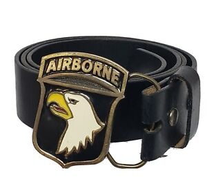 101st Airborne Metal Buckle w Levi's Leather Belt Size 40 Black Genuine Leather