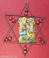 Stern leonische Drähte Kinderoblate rote Glaskugeln Christbaumschmuck um 1920