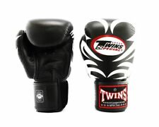 Twins Special Muay Thai MMA K1 Boxing Gloves USA STOCK Black/White Tribal 10 oz