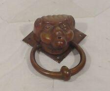 Antique Vintage Bronze Door Knocker Figural Face Gilt Ghoul