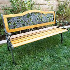 "Outdoor 50"" Floral Patio Porch Deck Hardwood Cast Iron Garden Bench Chair Park"