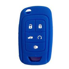 Blue Silicone Cover Holder Flip Key Fob Case Cover for Chevrolet Camaro Cruze 5B