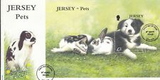 Stamps 2003 Jersey pets dog rabbits cat mini sheet on fdc, popular thematic