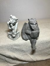 Vintage 2-Gargoyle Sitting Statue with Laptop & Chewing On Stick